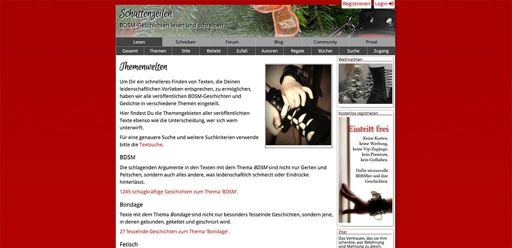 BDSM Sexgeschichten zum Lesen gibt es auch auf Schattenzeilen.de